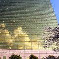 ビルに浮かぶ雲と桜