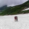 写真: 大走りの下の雪渓2010