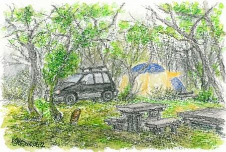 20140612比和町テン場の朝(雨)