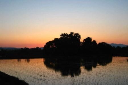 晴れた日の夕焼け