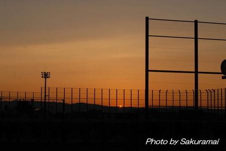 残暑の夕陽
