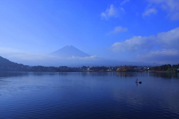 河口湖と富士山 広角で(1)