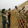 写真: 外壁となる木組みの枠
