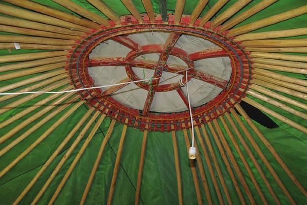写真: 複数の棒と円形の木枠