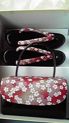 桜模様のバック草履セット