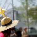 麦藁帽に風車
