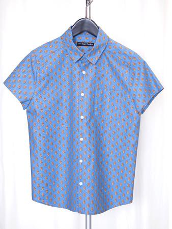 シャツ南仏柄ブルー