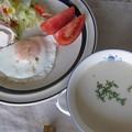 朝食にホワイトアスパラのポタージュ