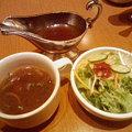 炭火焼ハンバーグカキヤス(ソース・スープ・サラダ6)